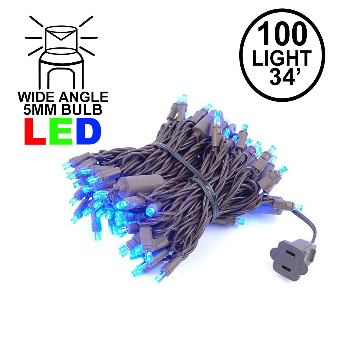 Picture of Commercial Grade Wide Angle 100 LED Blue 34' Long on Brown Wire
