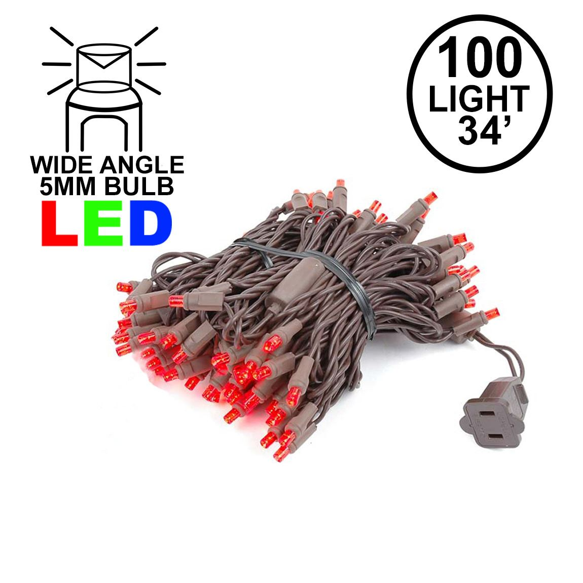 Picture of Commercial Grade Wide Angle 100 LED Red 34' Long on Brown Wire