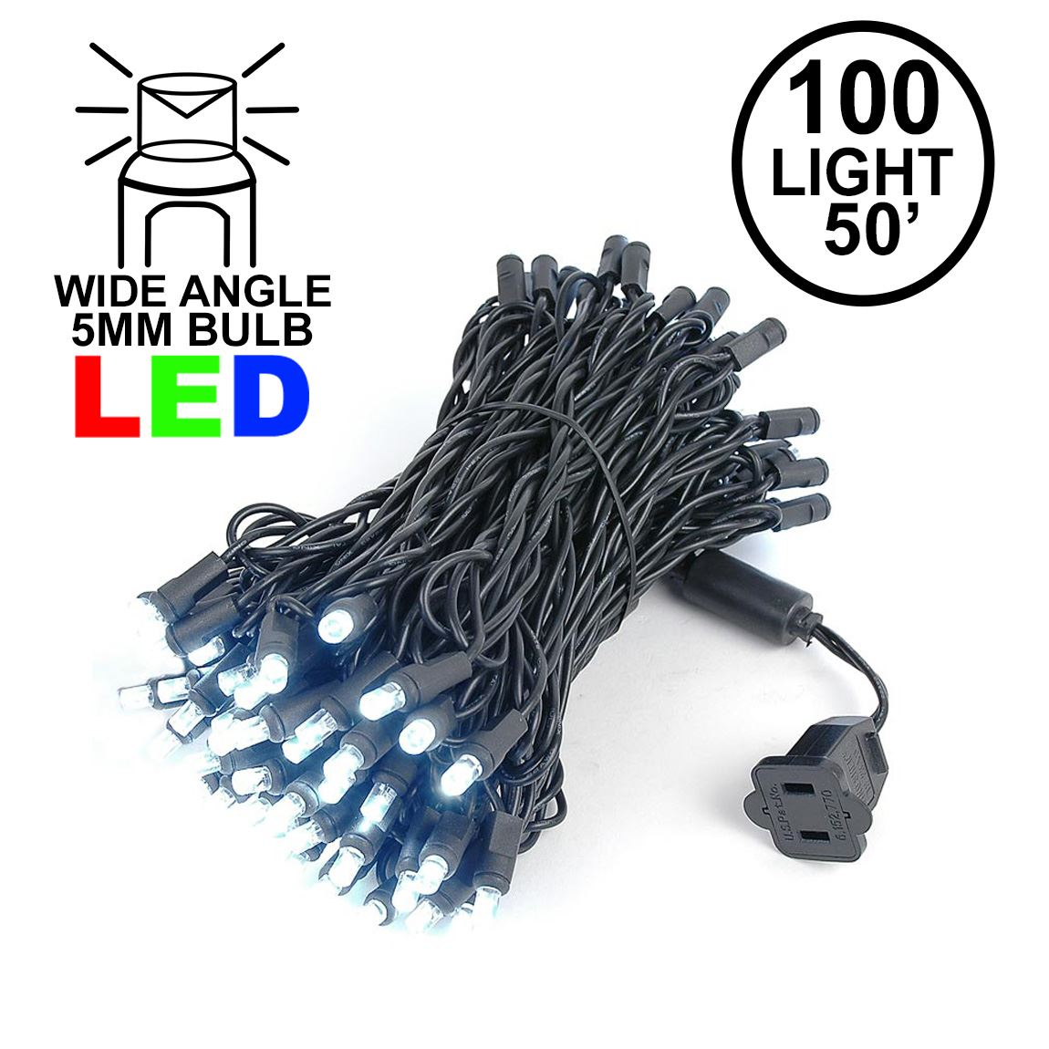 Picture of Commercial Grade Wide Angle 100 LED Pure White  50' Long on Black Wire