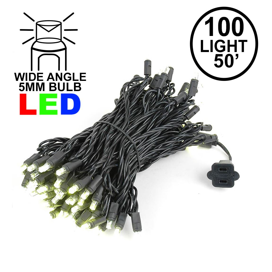 5mm Black Wire Warm White 100 Bulb Led Christmas Lights Sets