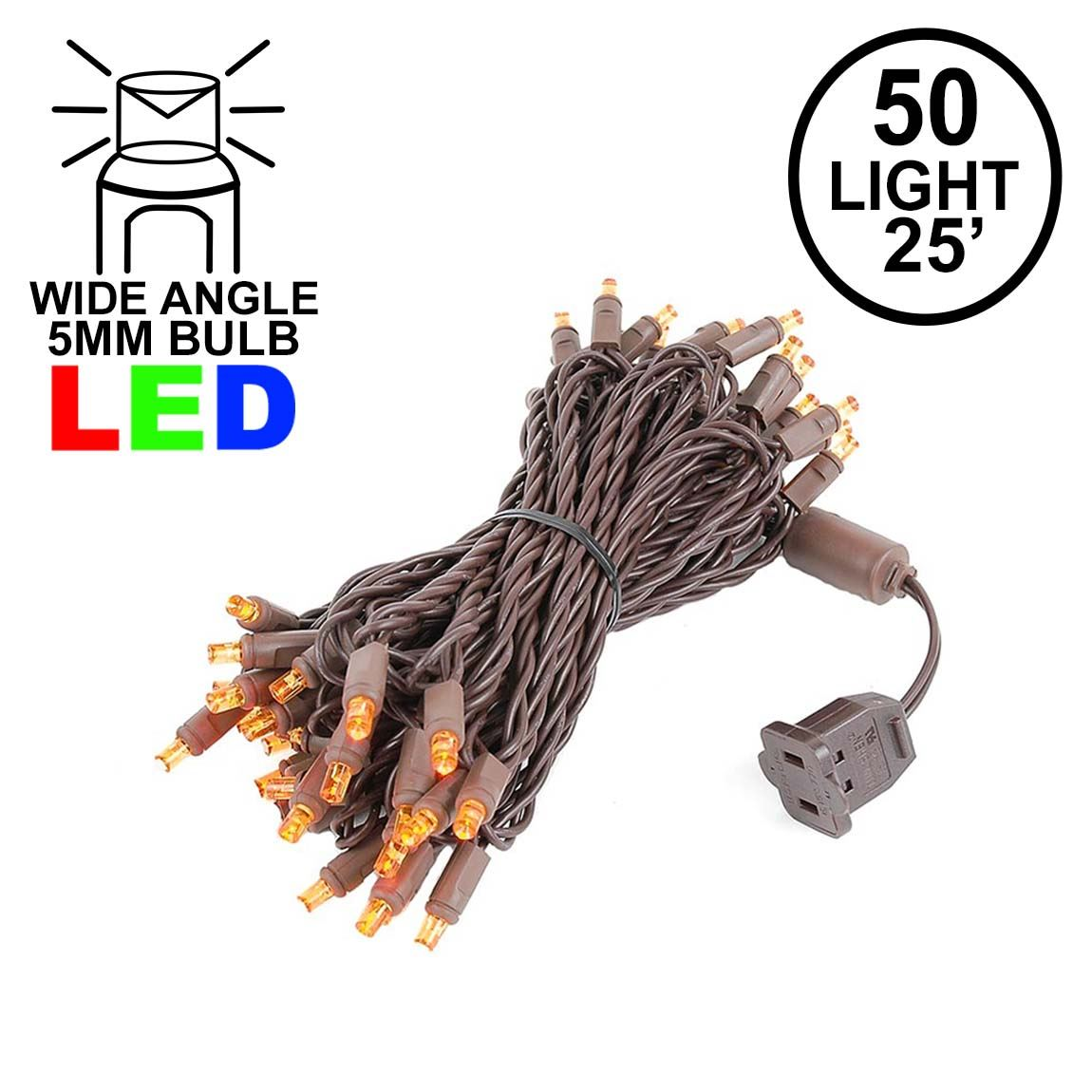 Picture of Commercial Grade Wide Angle 50 LED Amber 25' Long on Brown Wire