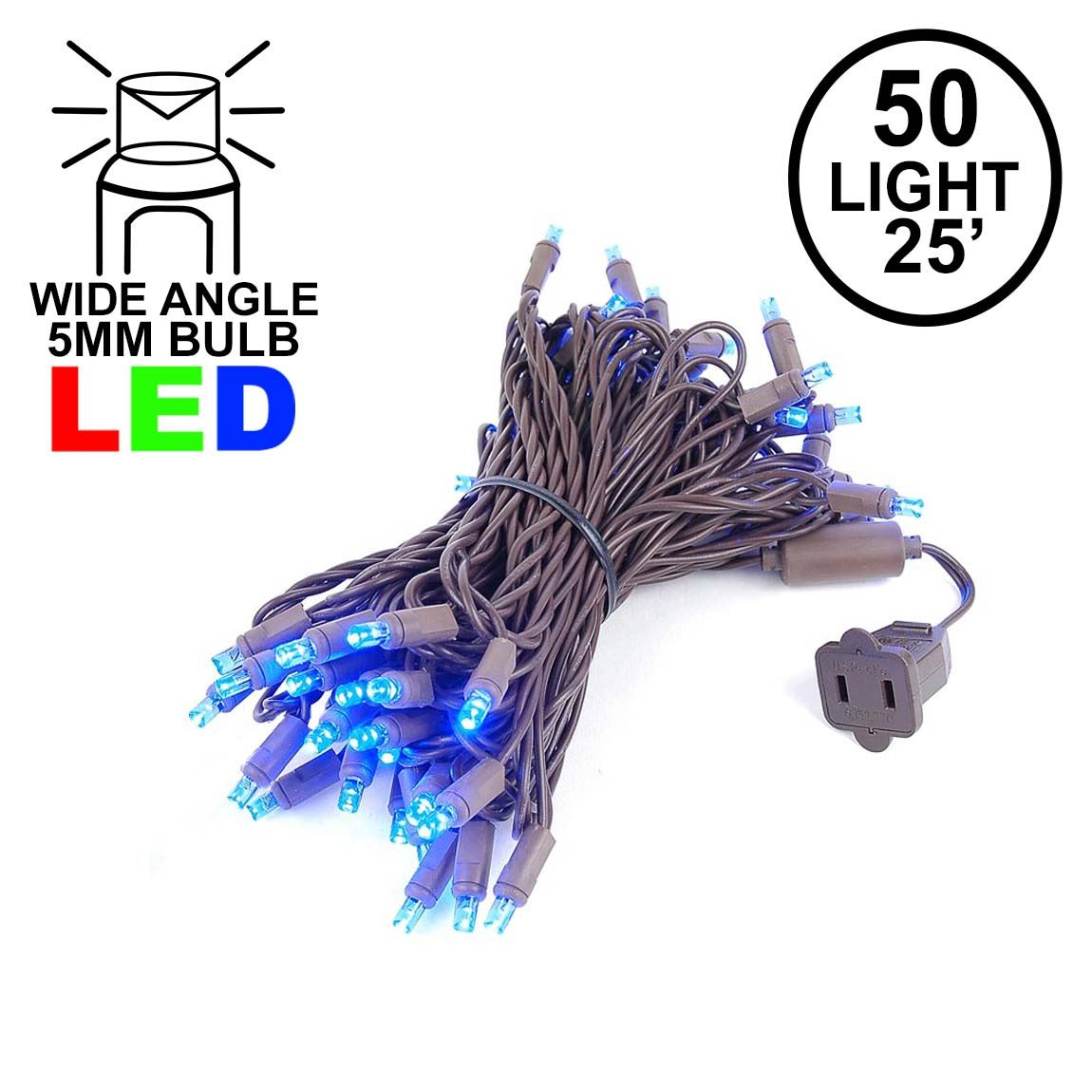 Picture of Commercial Grade Wide Angle 50 LED Blue 25' Long on Brown Wire