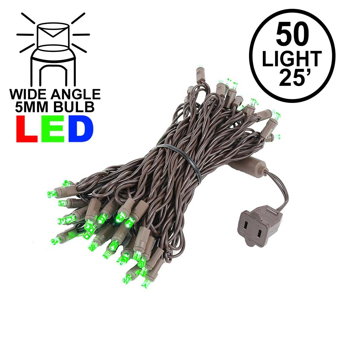 Picture of Commercial Grade Wide Angle 50 LED Green 25' Long on Brown Wire