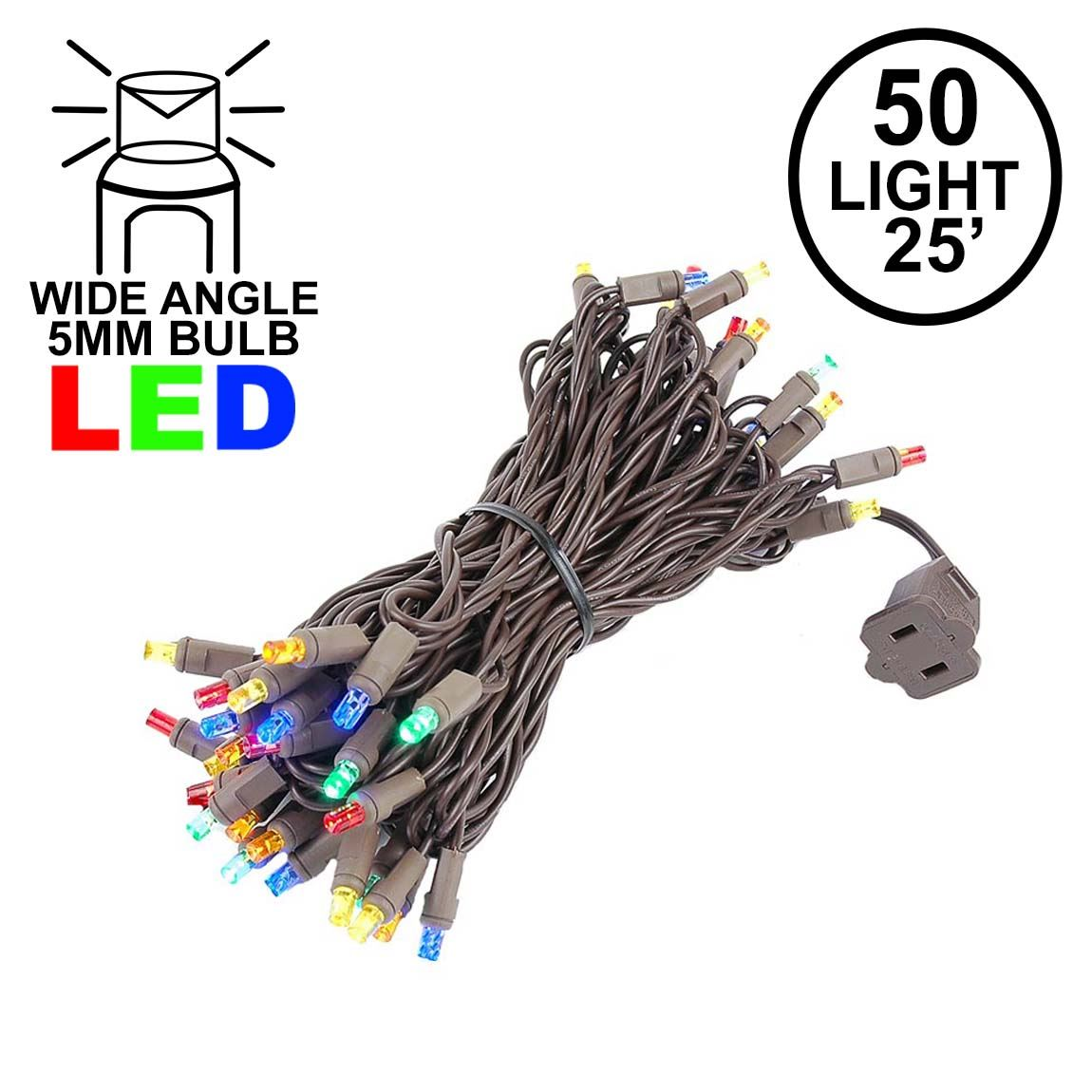 Picture of Commercial Grade Wide Angle 50 LED Multi 25' Long on Brown Wire