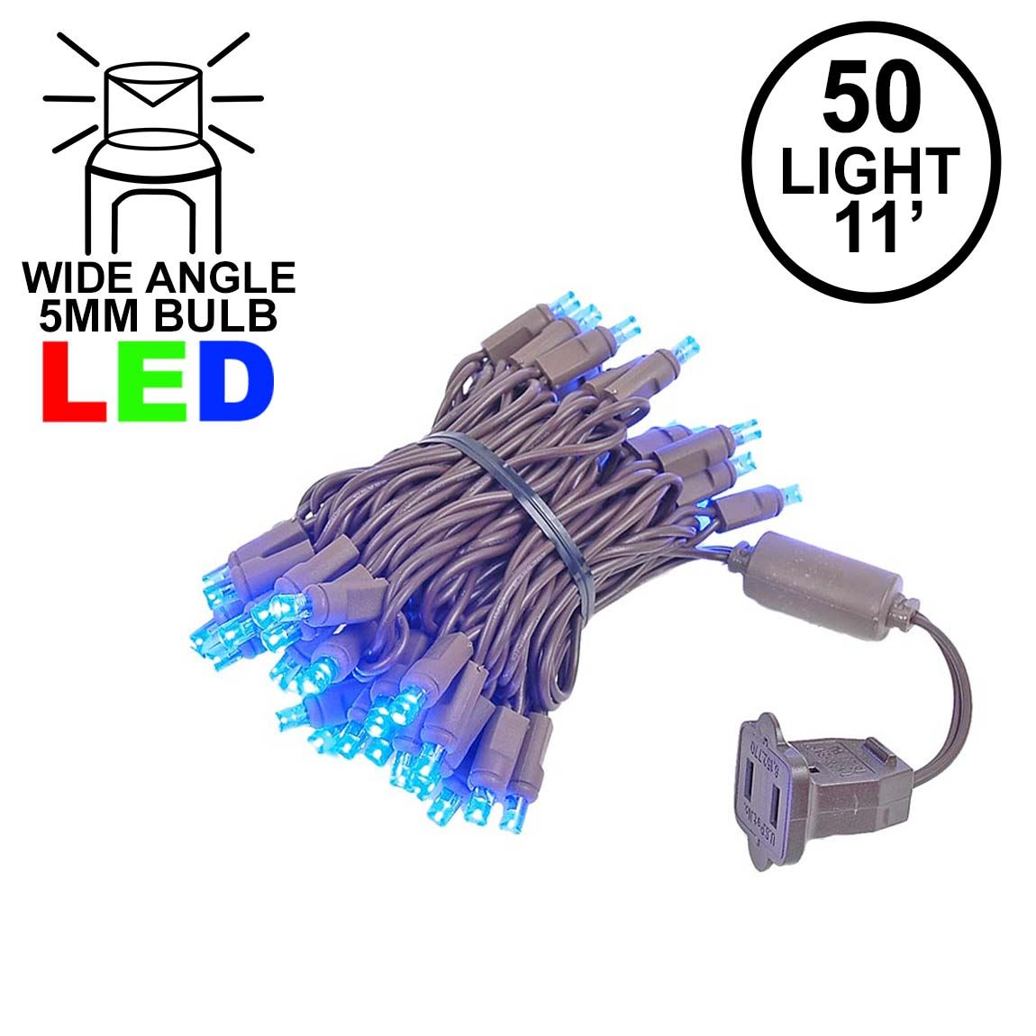 Picture of 50 LED Blue LED Christmas Lights 11' Long on Brown Wire