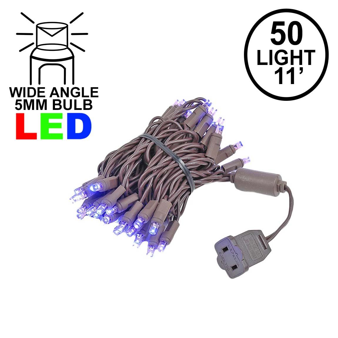 Picture of 50 LED Purple LED Christmas Lights 11' Long on Brown Wire