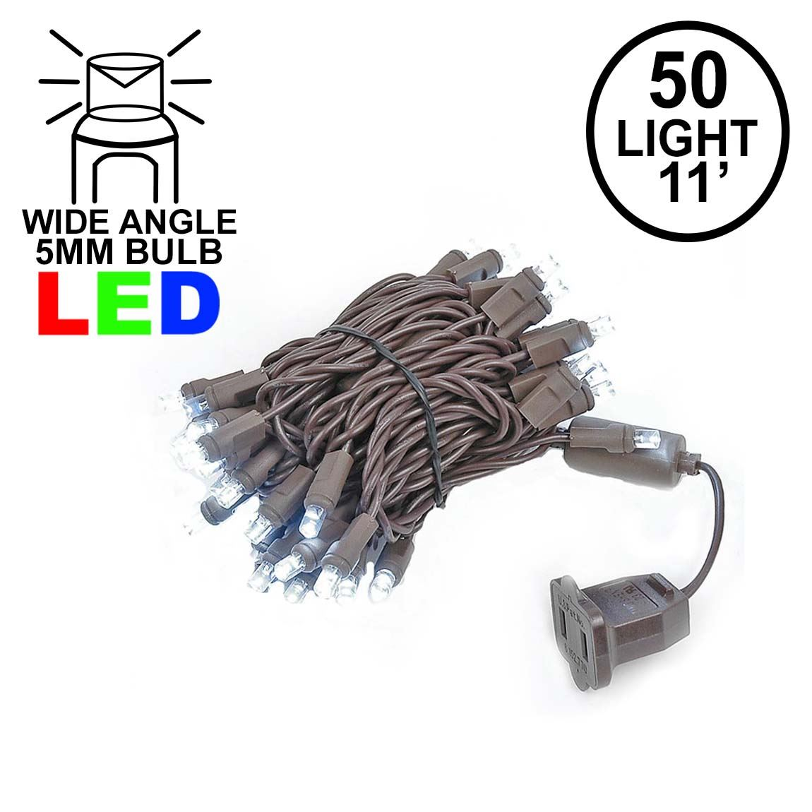 Picture of 50 LED Pure White LED Christmas Lights 11' Long on Brown Wire