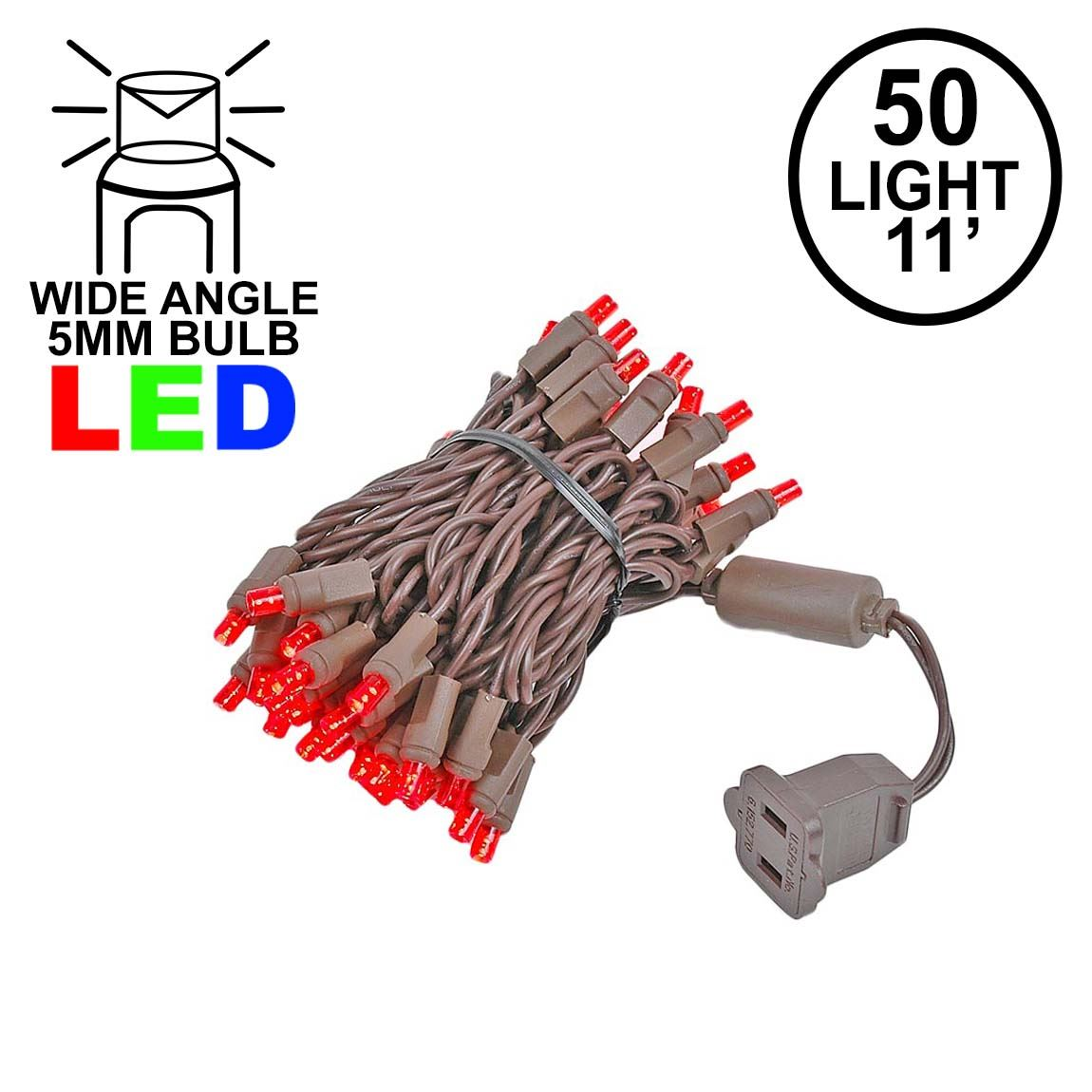 Picture of 50 LED Red LED Christmas Lights 11' Long on Brown Wire