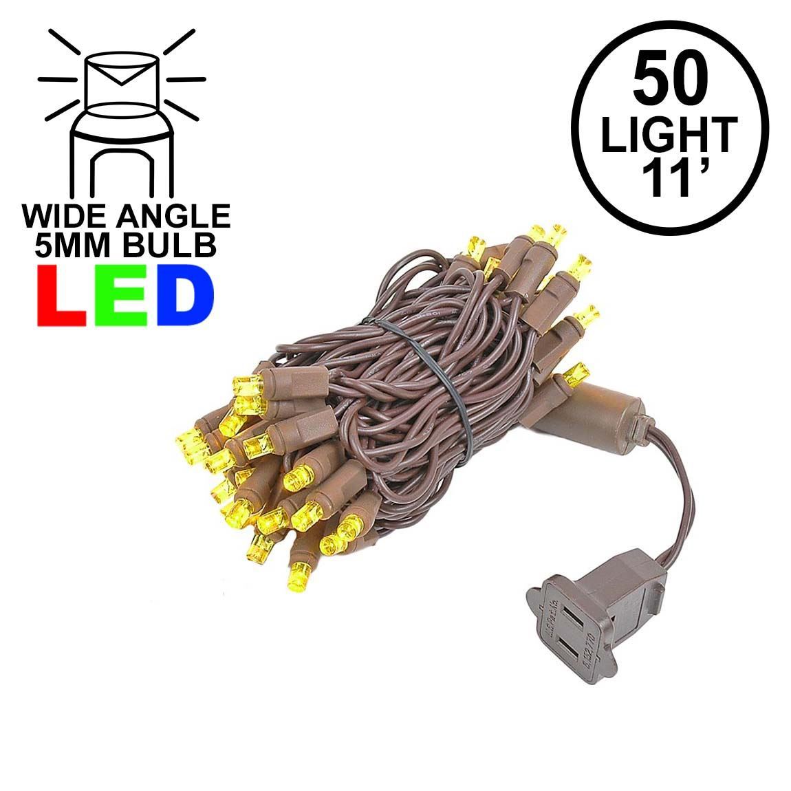Picture of 50 LED Yellow LED Christmas Lights 11' Long on Brown Wire