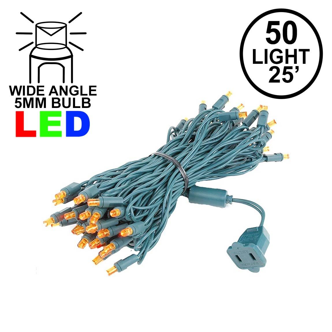 Picture of Commercial Grade Wide Angle 50 LED Amber 25' Long on Green Wire