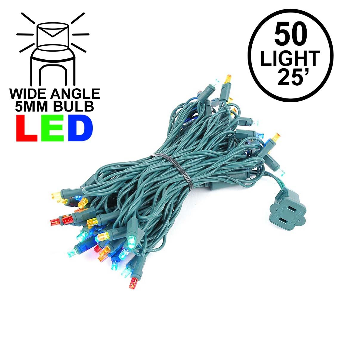 Commercial Grade Wide Angle 50 Led Multi 25 Long On Green Wire