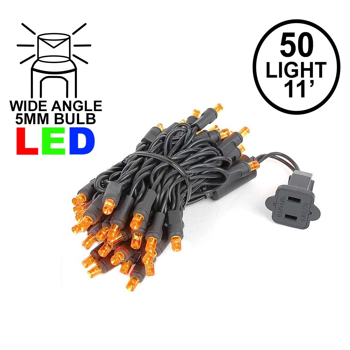 Picture of 50 LED Amber LED Christmas Lights 11' Long on Black Wire