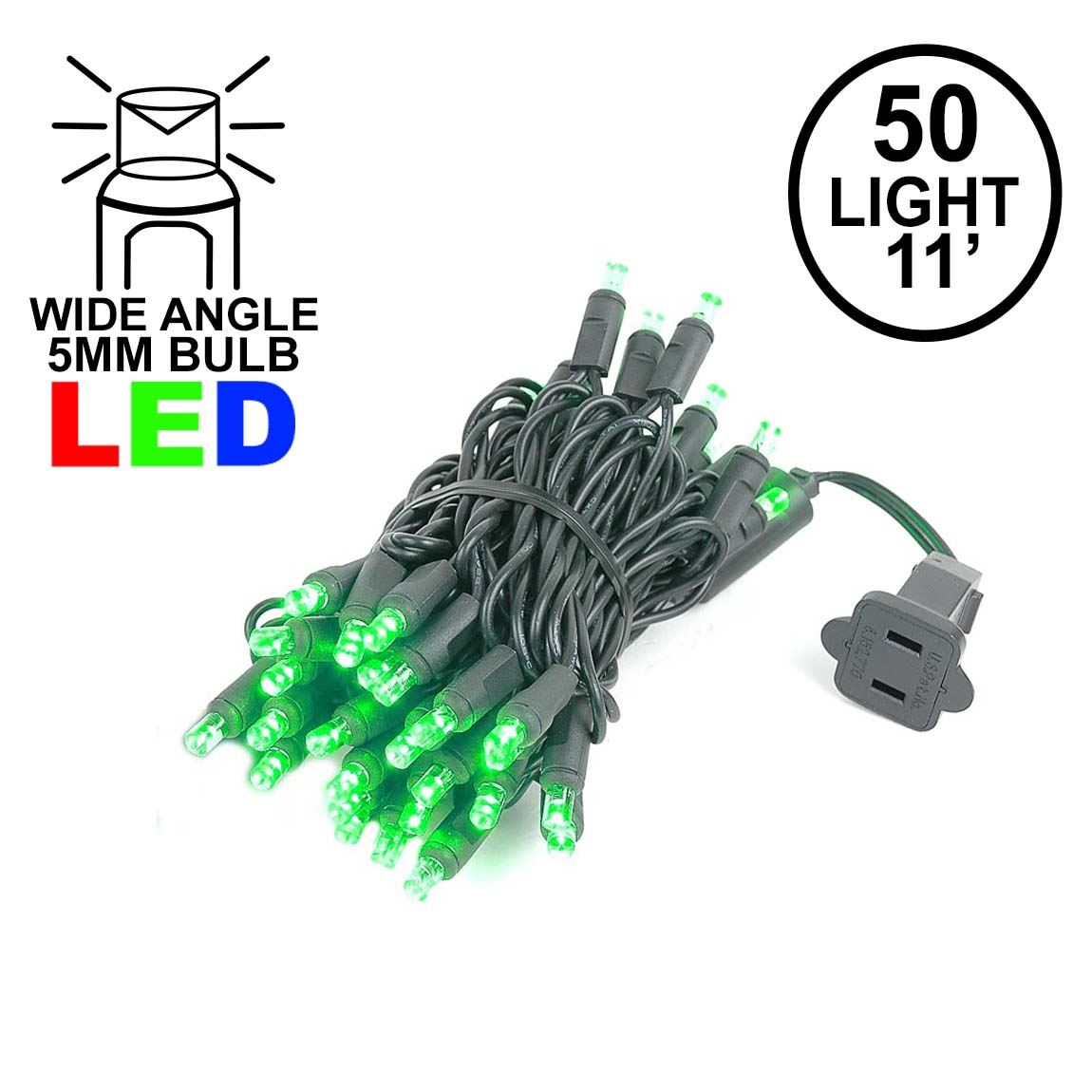 Picture of 50 LED Green LED Christmas Lights 11' Long on Black Wire
