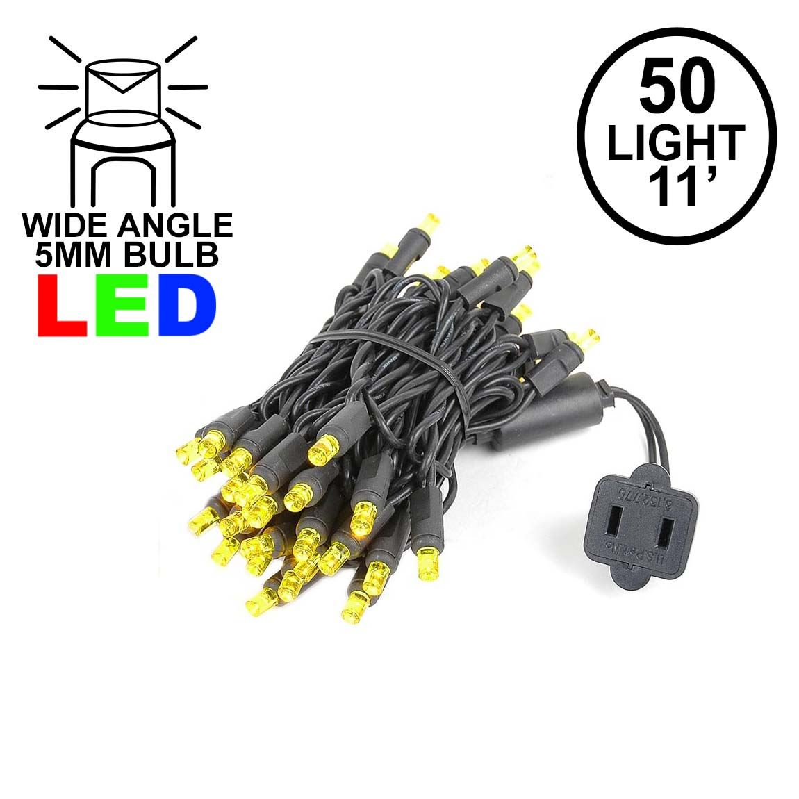 Picture of 50 LED Yellow LED Christmas Lights 11' Long on Black Wire