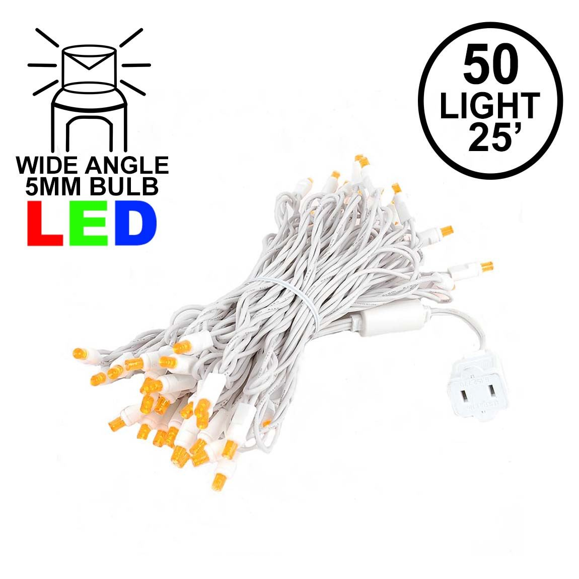 Picture of Commercial Grade Wide Angle 50 LED Amber 25' Long White Wire