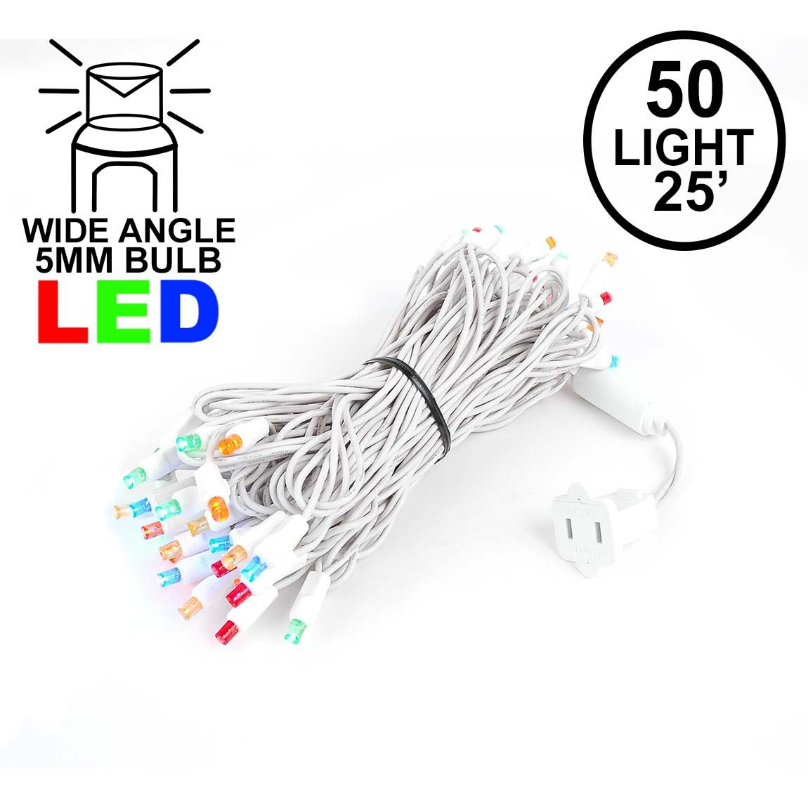 Picture of Commercial Grade Wide Angle 50 LED Multi 25' Long on White Wire