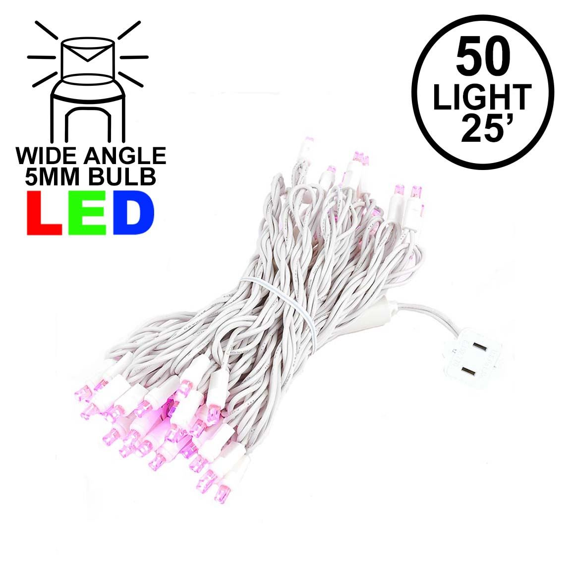 Picture of Commercial Grade Wide Angle 50 LED Pink 25' Long White Wire