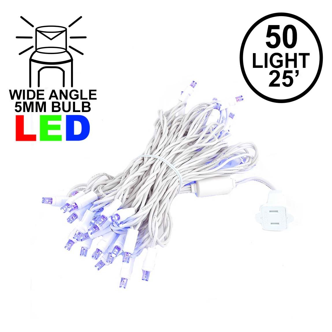 Picture of Commercial Grade Wide Angle 50 LED Purple 25' Long White Wire