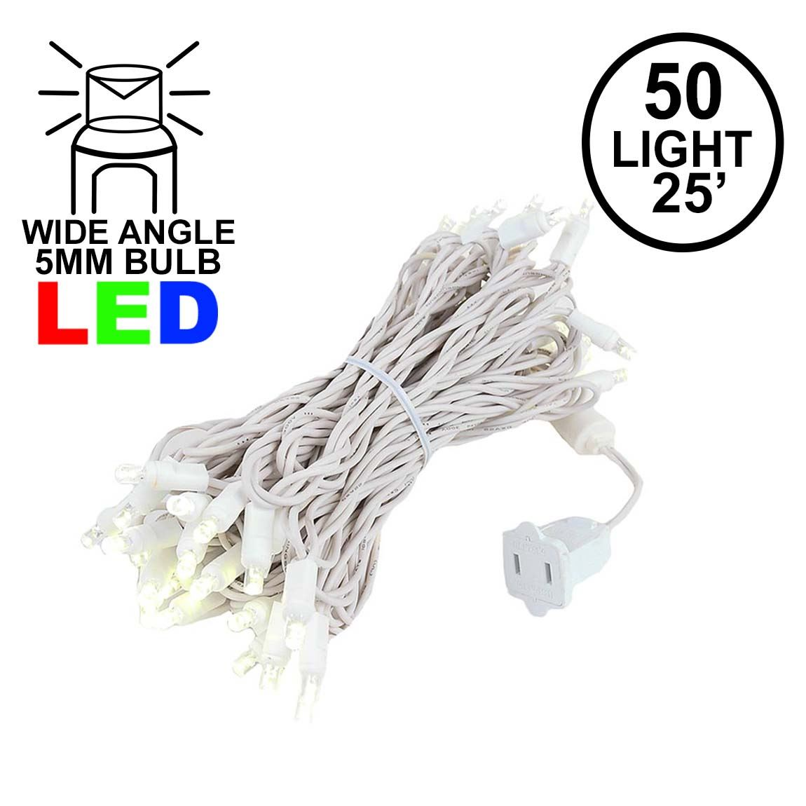 Picture of Commercial Grade Wide Angle 50 LED Warm White 25' Long White Wire