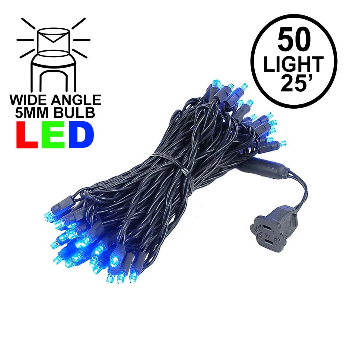Picture of Commercial Grade Wide Angle 50 LED Blue 25' Long on Black Wire
