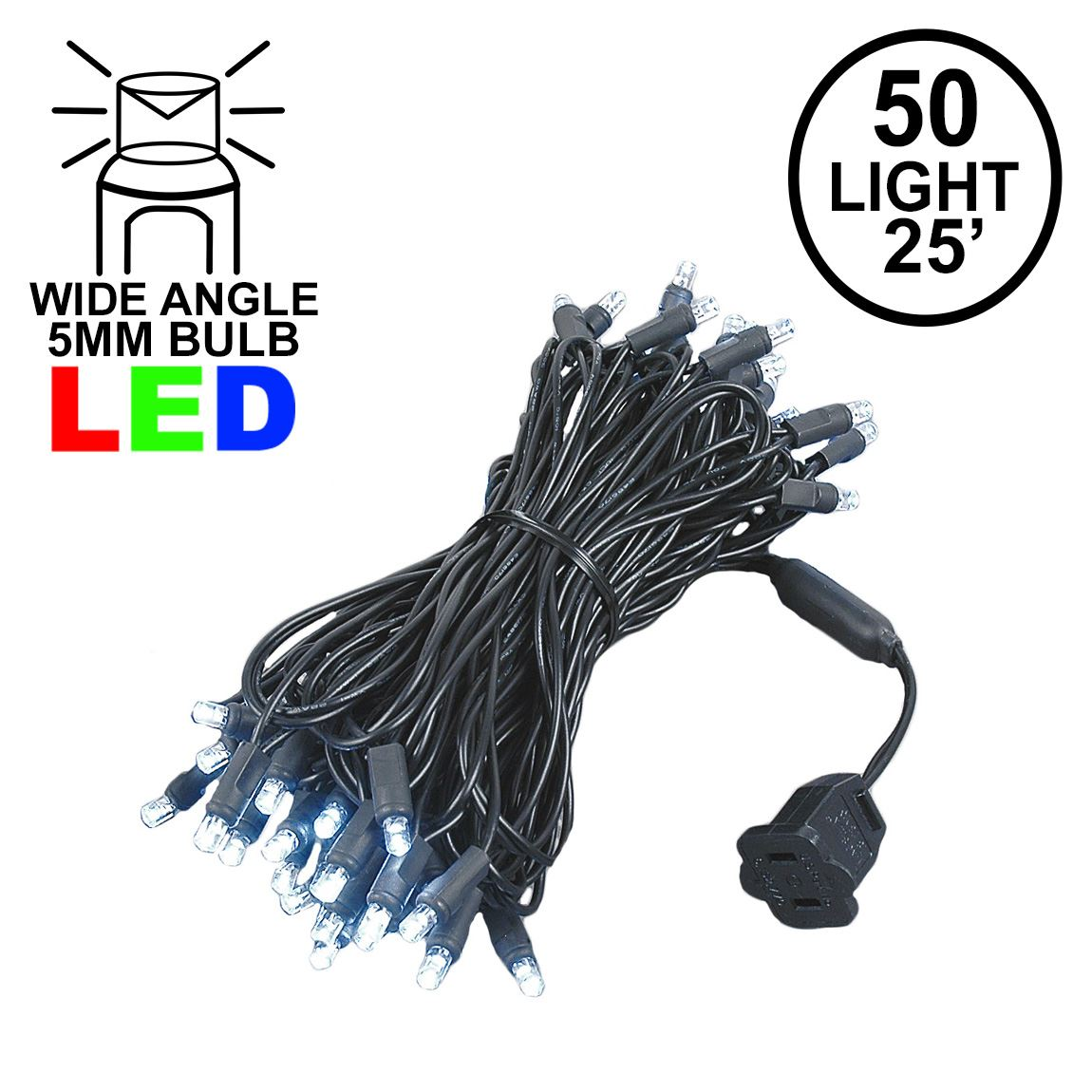 Picture of Commercial Grade Wide Angle 50 LED Pure White 25' Long on Black Wire