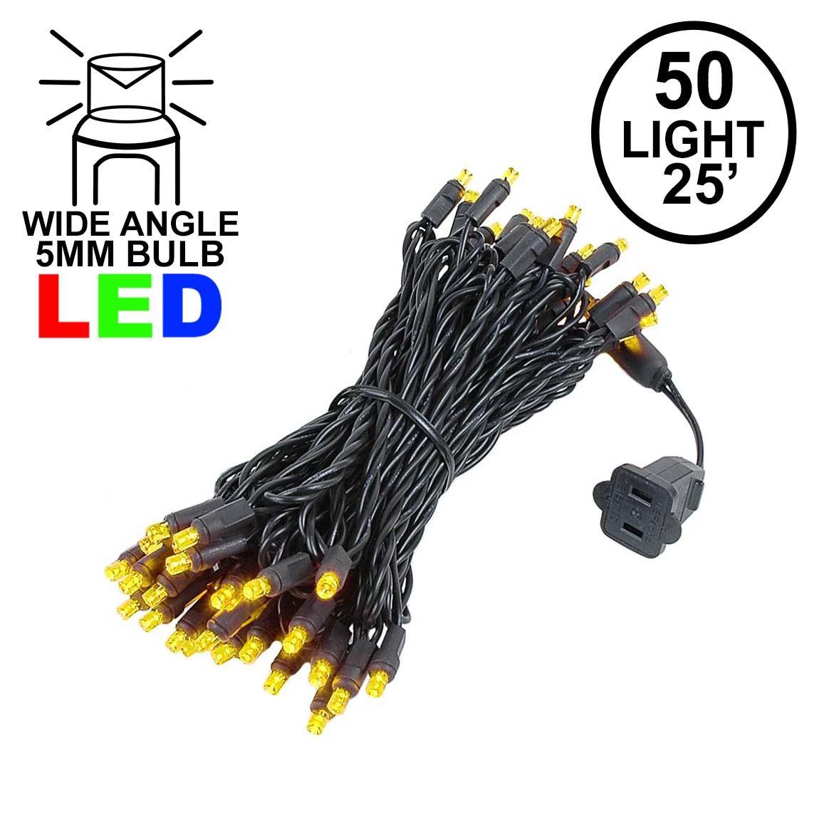 Picture of Commercial Grade Wide Angle 50 LED Yellow 25' Long on Black Wire