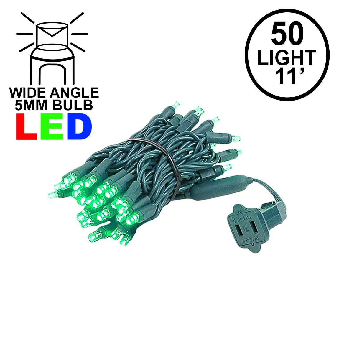 Picture of 50 LED Green LED Christmas Lights 11' Long on Green Wire