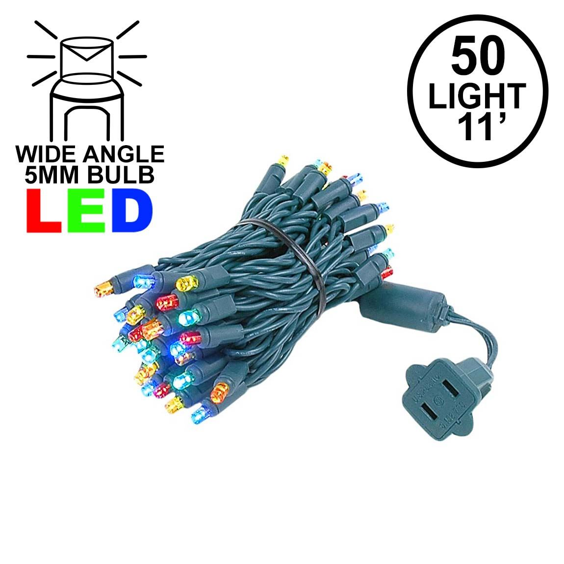 Picture of 50 LED Multi LED Christmas Lights 11' Long on Green Wire