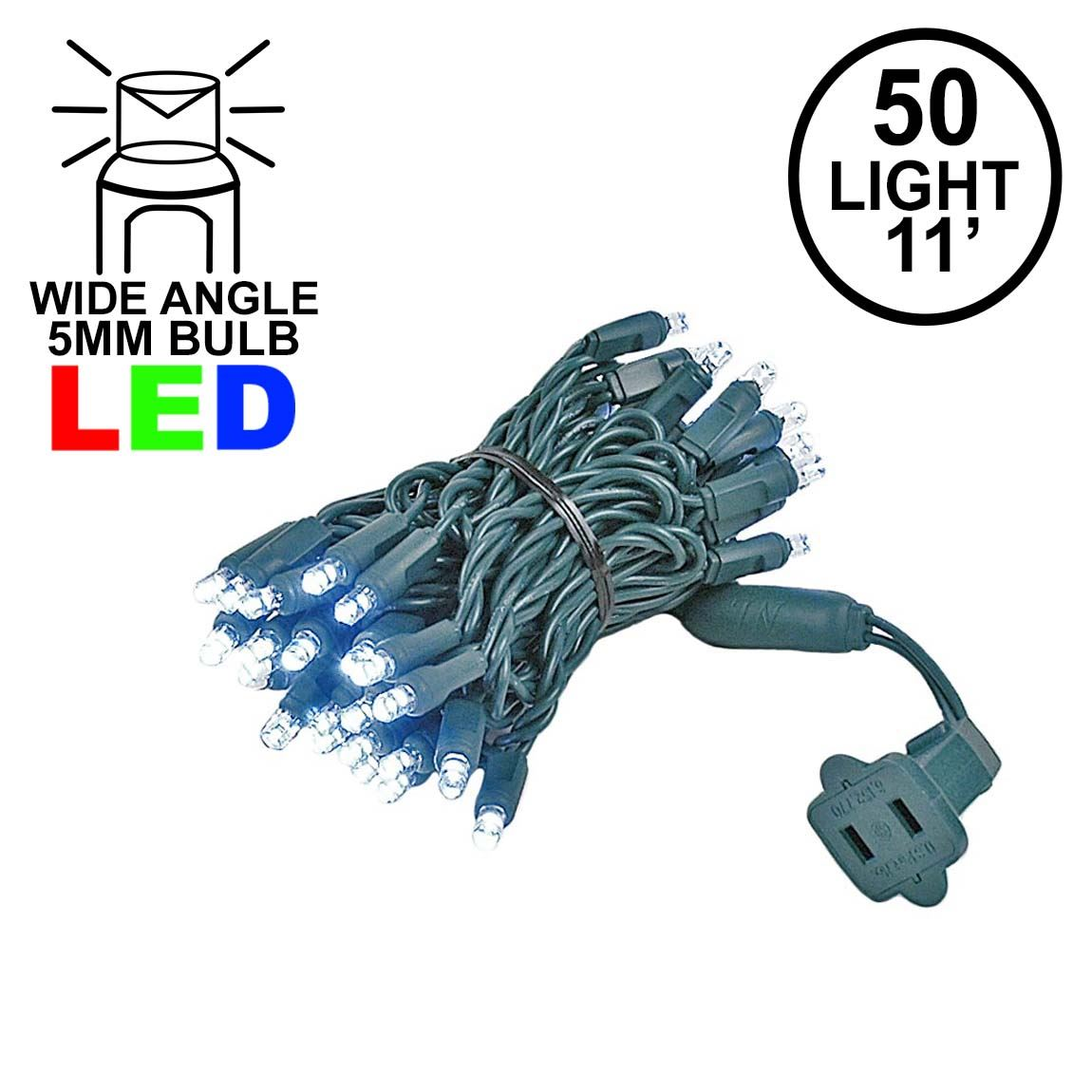 Picture of 50 LED Pure White LED Christmas Lights 11' Long on Green Wire