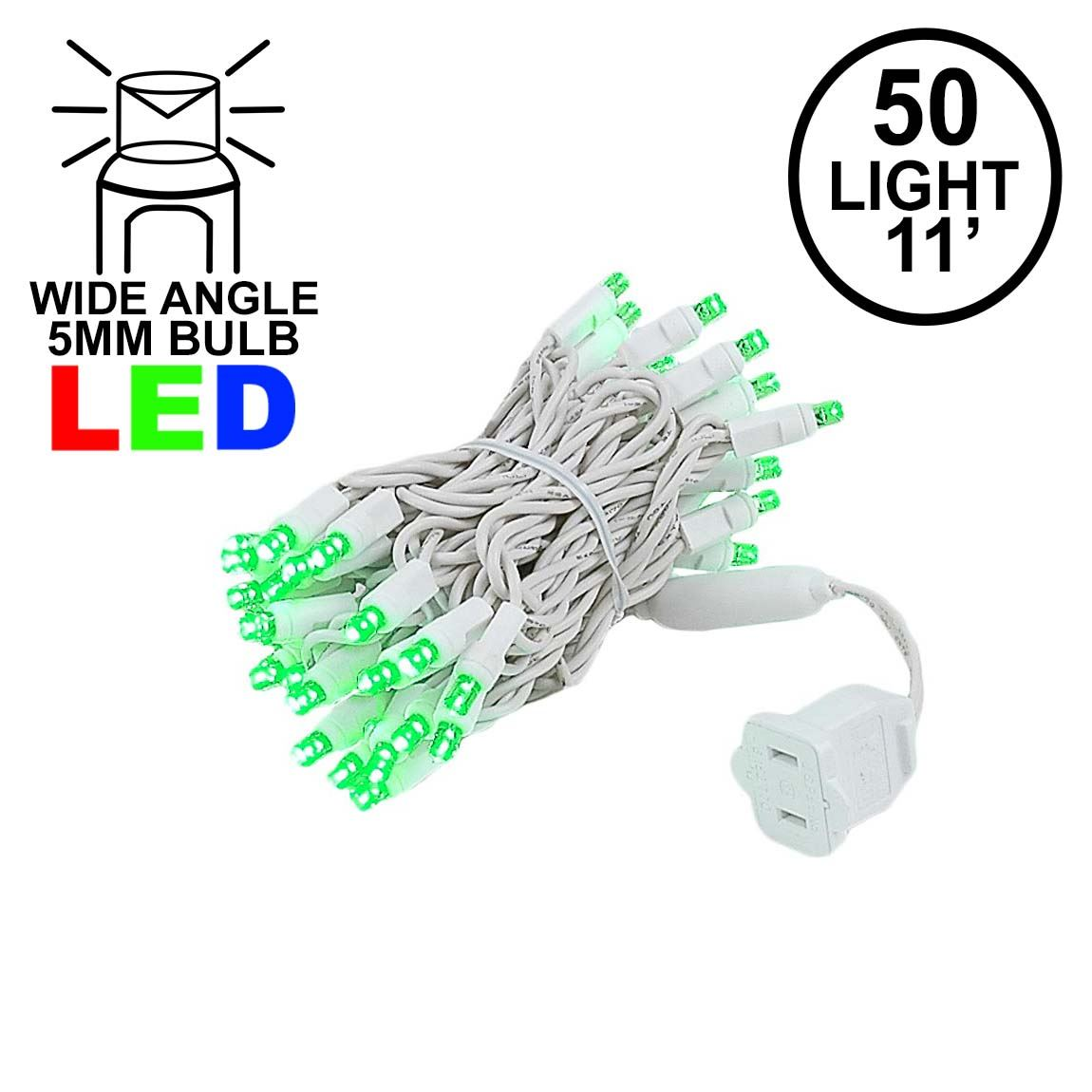Picture of 50 LED Green LED Christmas Lights 11' Long on White Wire