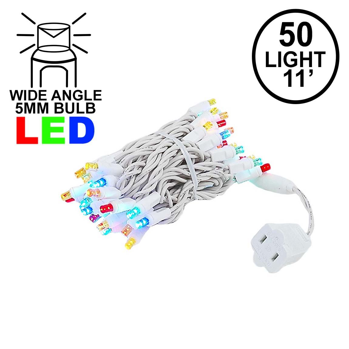 Picture of 50 LED Multi LED Christmas Lights 11' Long on White Wire