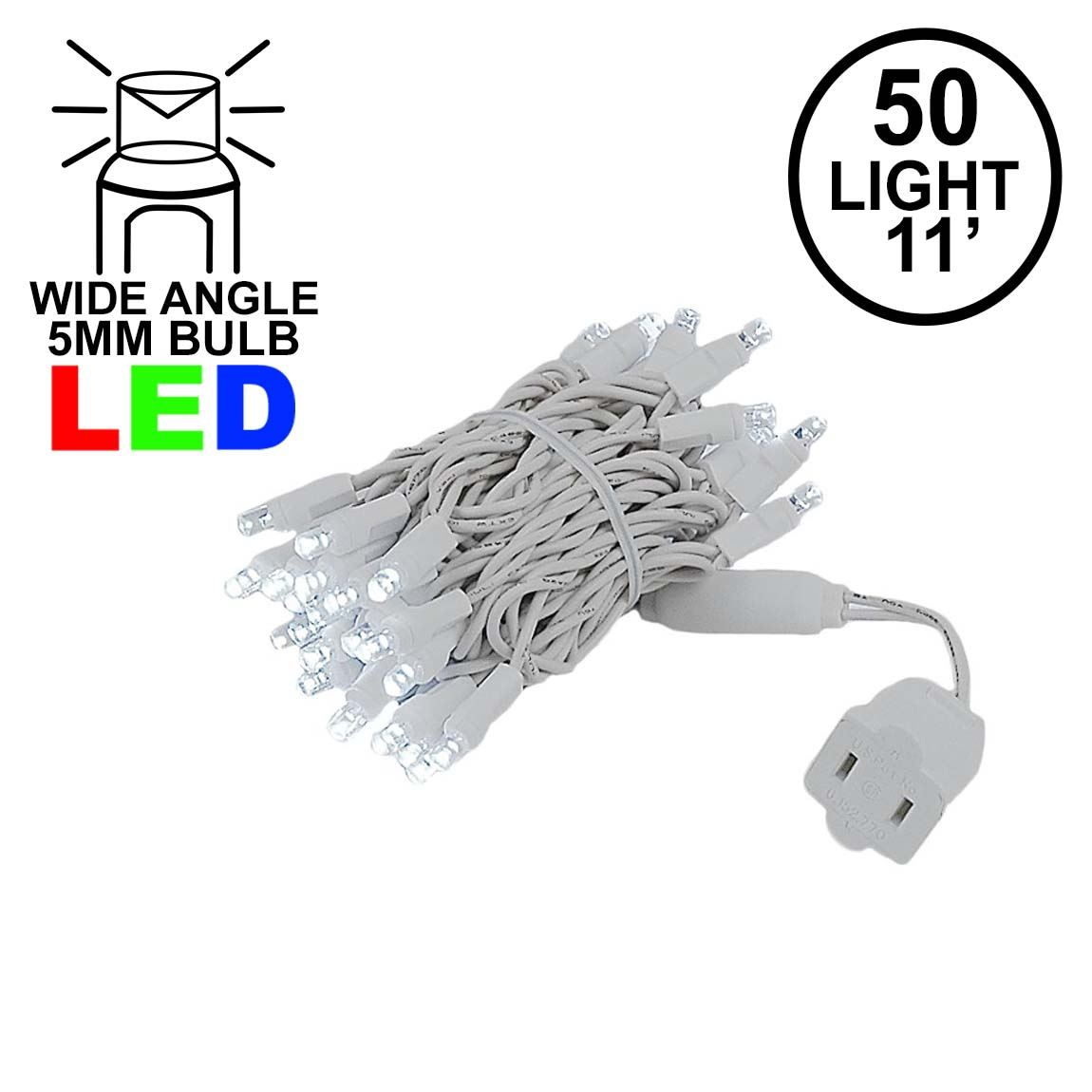 Picture of 50 LED Pure White LED Christmas Lights 11' Long on White Wire