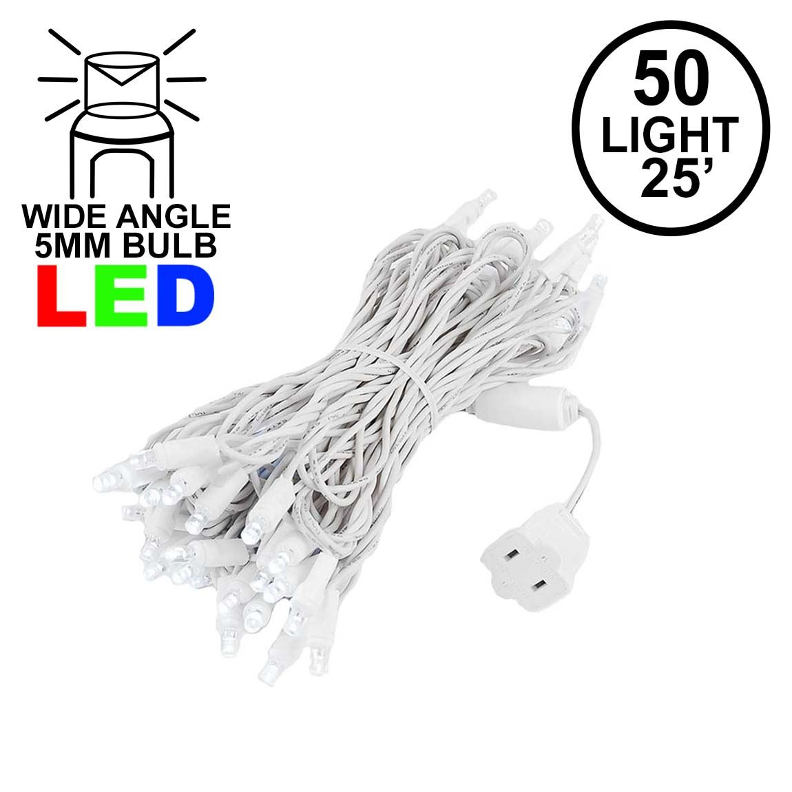 Picture of Commercial Grade Wide Angle 50 LED Pure White 25' Long on White Wire