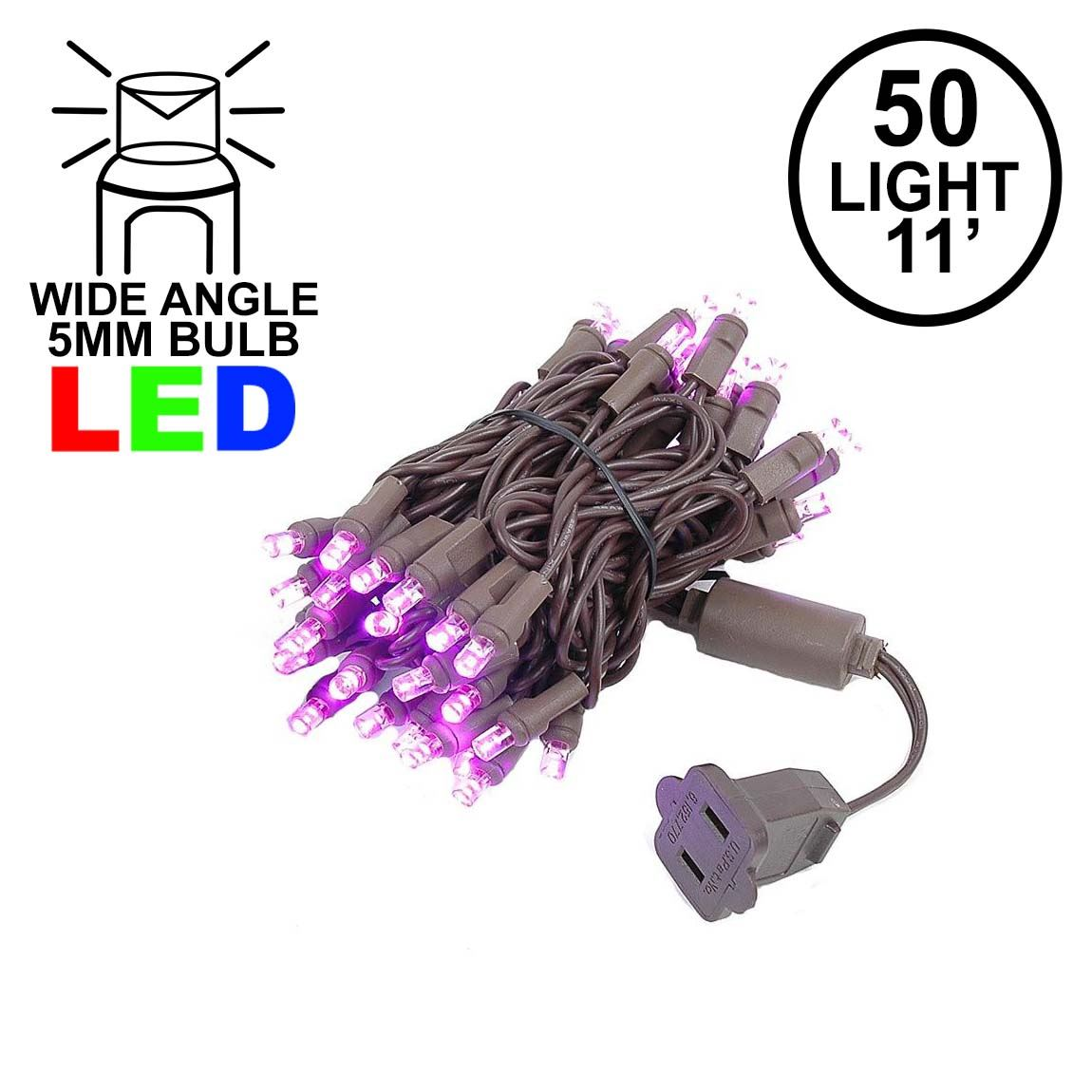 Picture of 50 LED Pink LED Christmas Lights 11' Long on Brown Wire