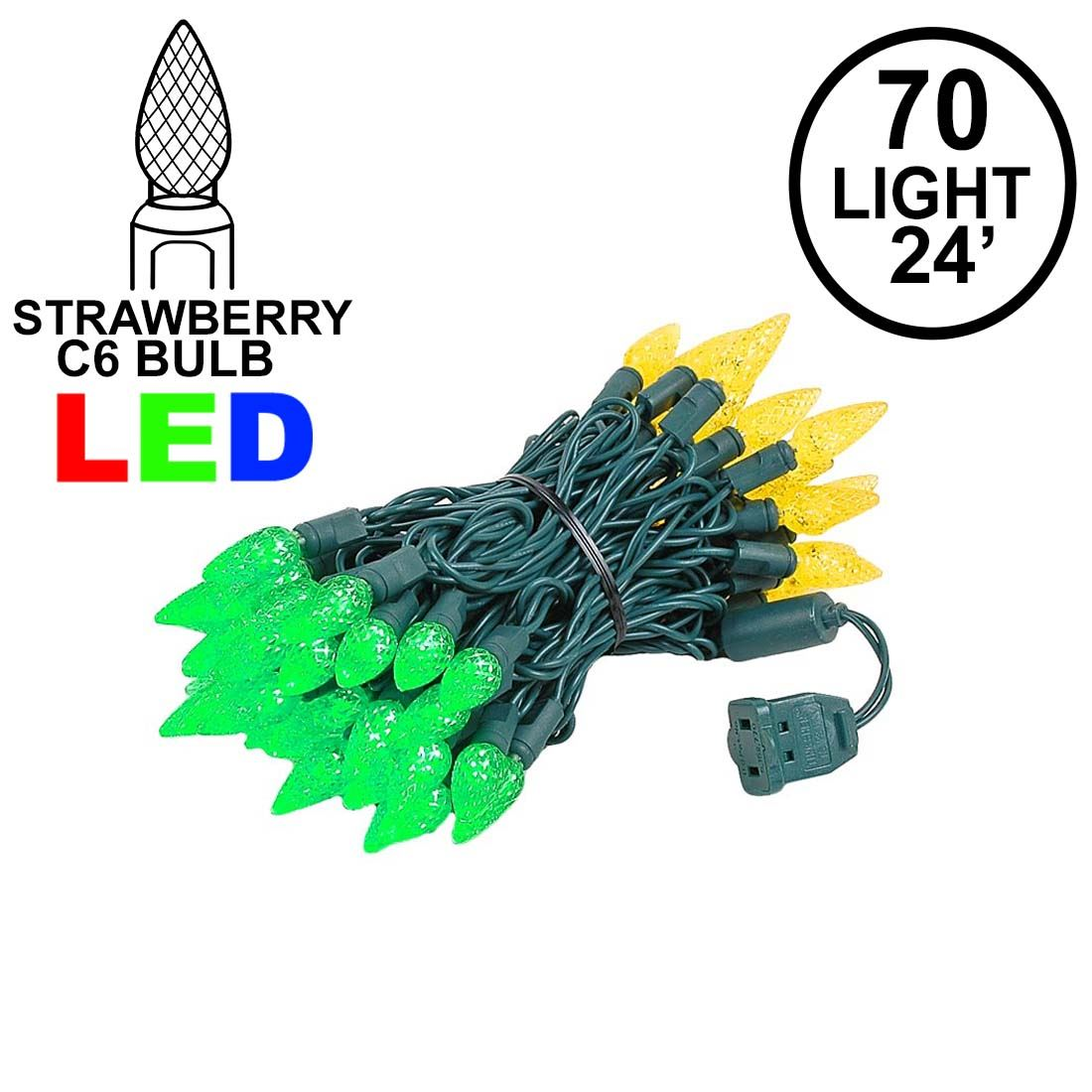 Picture of Green and Yellow 70 LED C6 Strawberry Mini Lights Commercial Grade Green Wire