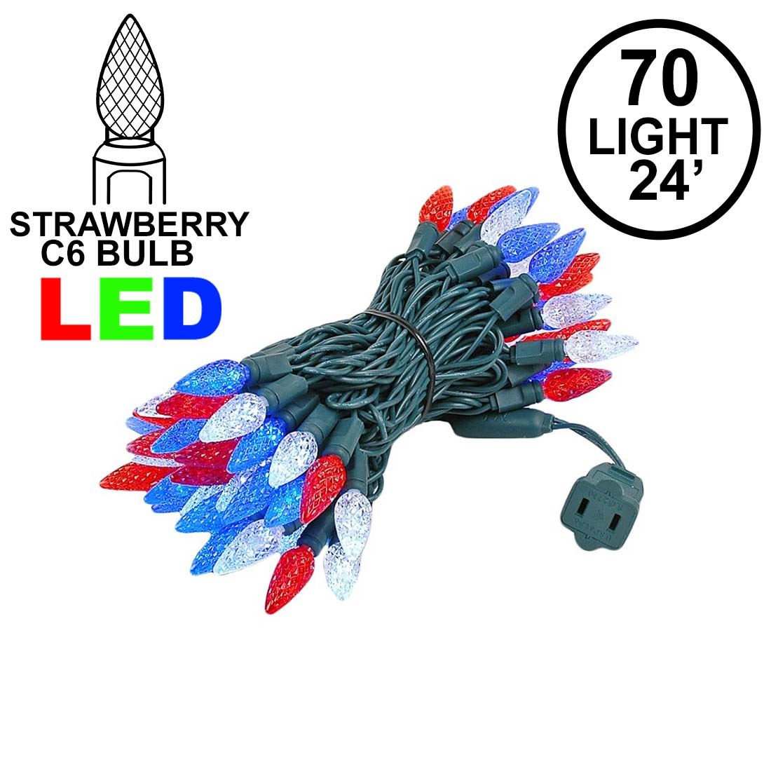 Picture of Red White & Blue 70 LED C6 Strawberry Mini Lights Commercial Grade on Green Wire