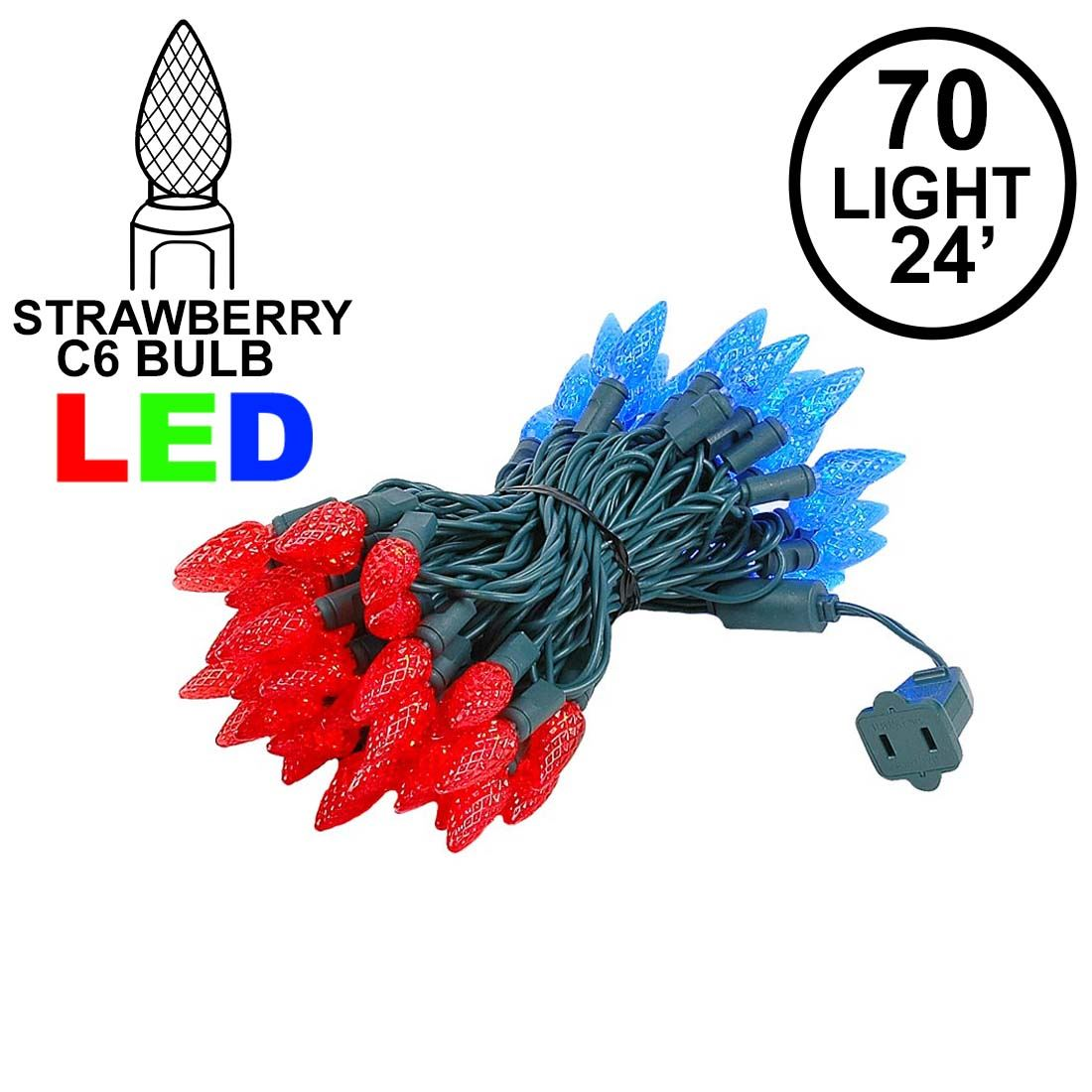 Picture of Red and Blue 70 LED C6 Strawberry Mini Lights Commercial Grade Green Wire