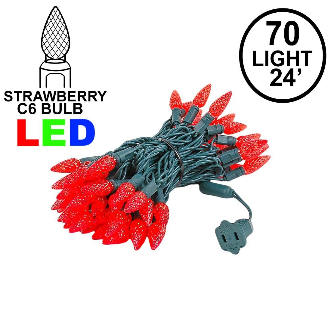 Picture of Red 70 LED C6 Strawberry Mini Lights Commercial Grade on Green Wire