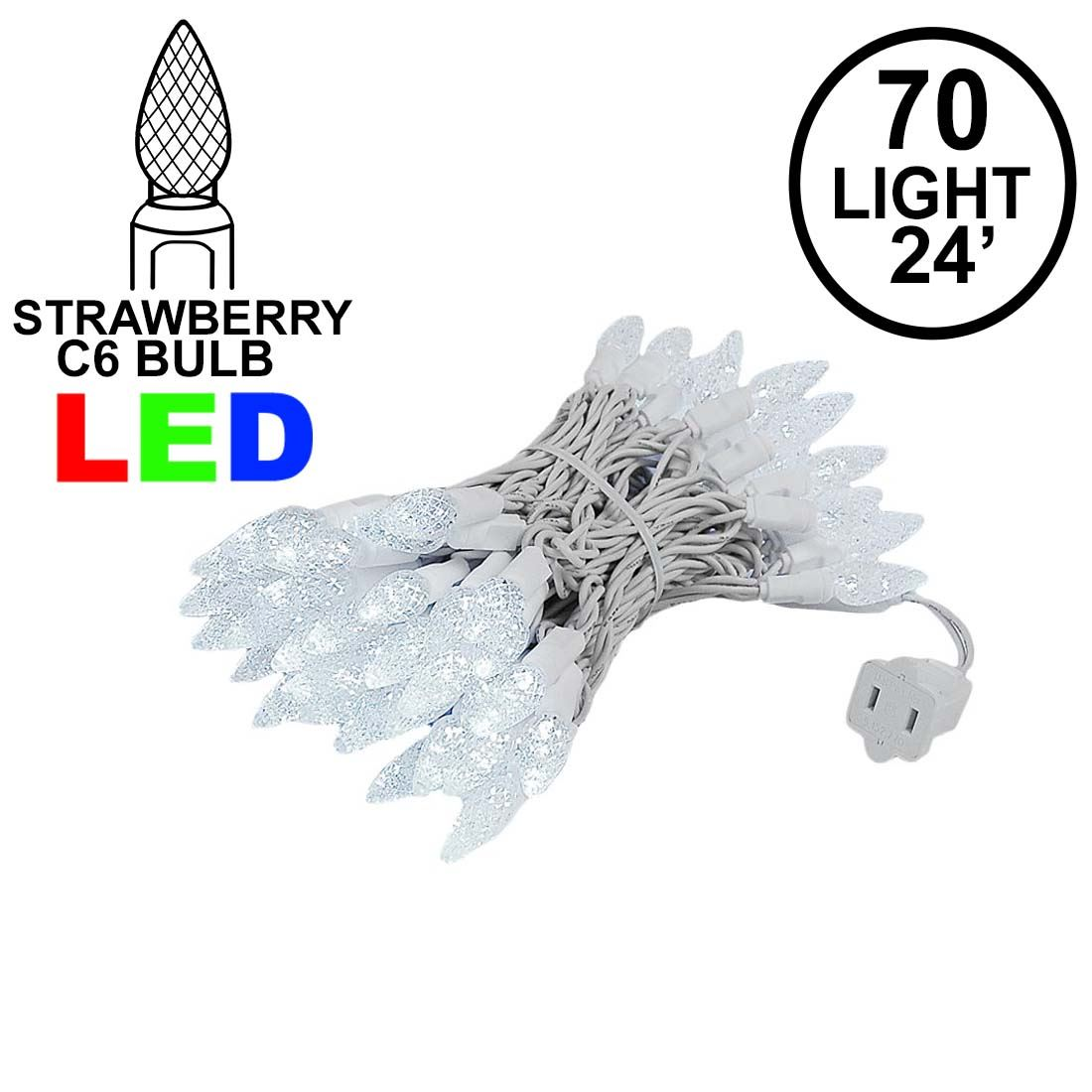 Picture of Pure White 70 LED C6 Strawberry Mini Lights Commercial Grade on White Wire
