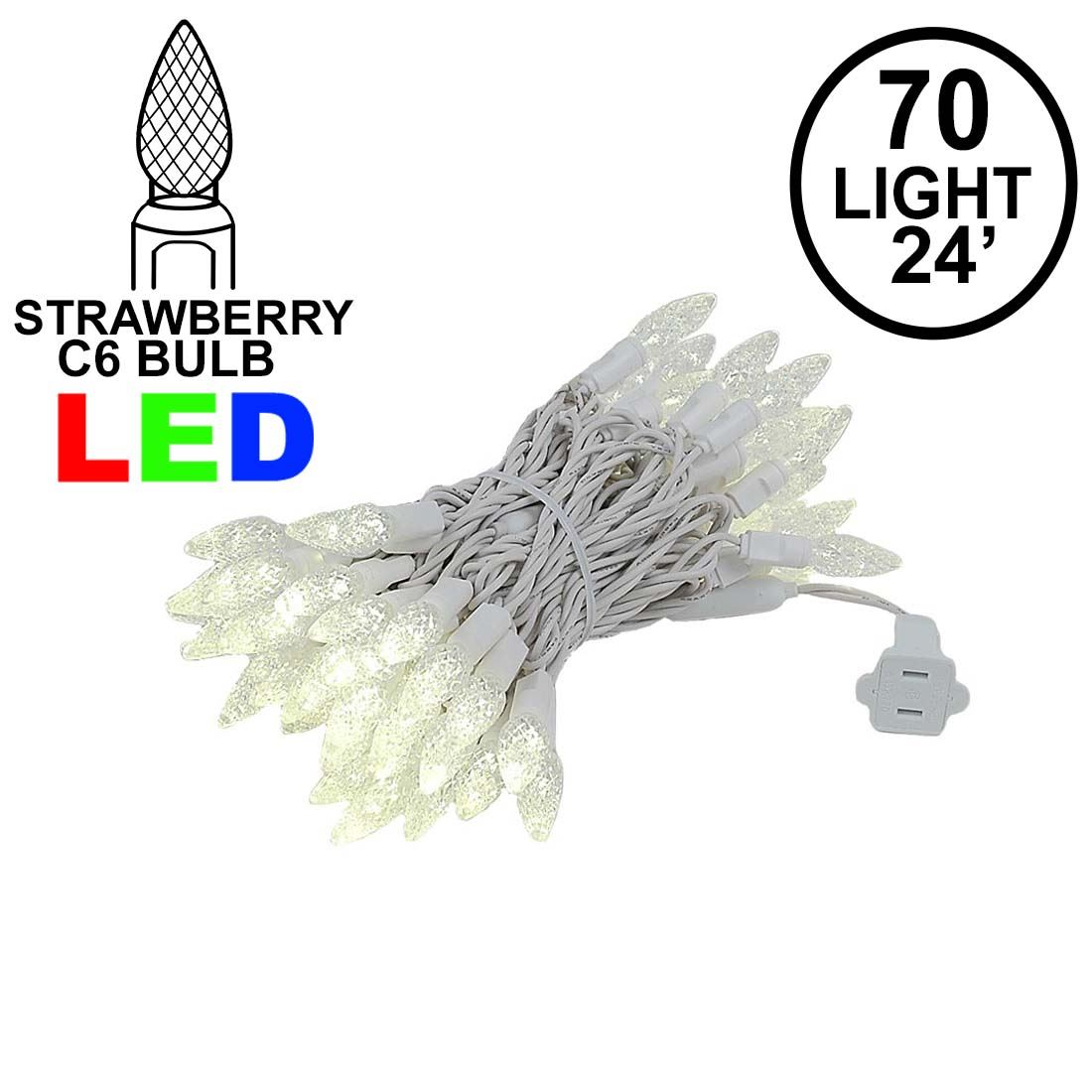 Picture of Warm White 70 LED C6 Strawberry Mini Lights Commercial Grade on White Wire