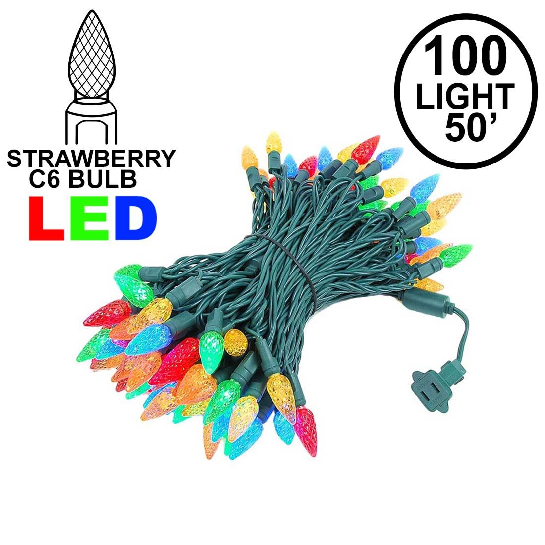 Picture of Multi 100 LED C6 Strawberry Mini Lights Commercial Grade Green Wire
