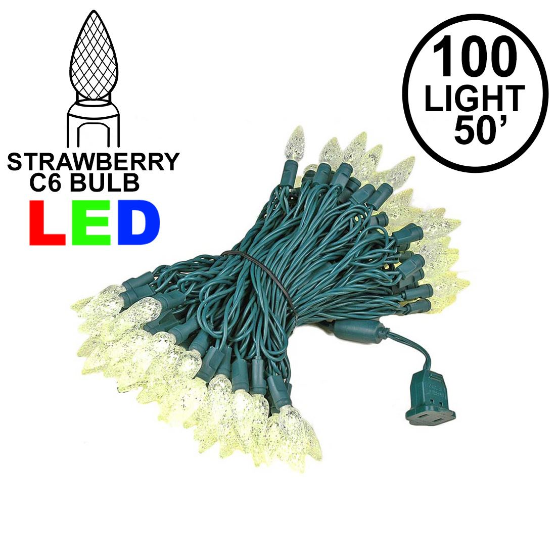 Picture of Warm White 100 LED C6 Strawberry Mini Lights Commercial Grade Green Wire