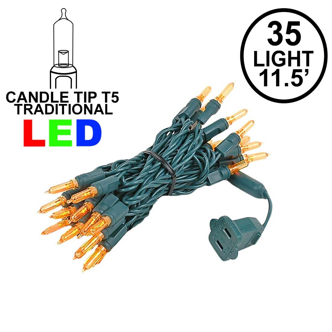 Amber Orange 35 Light Traditional Candle Tip LED Christmas Lights on ...