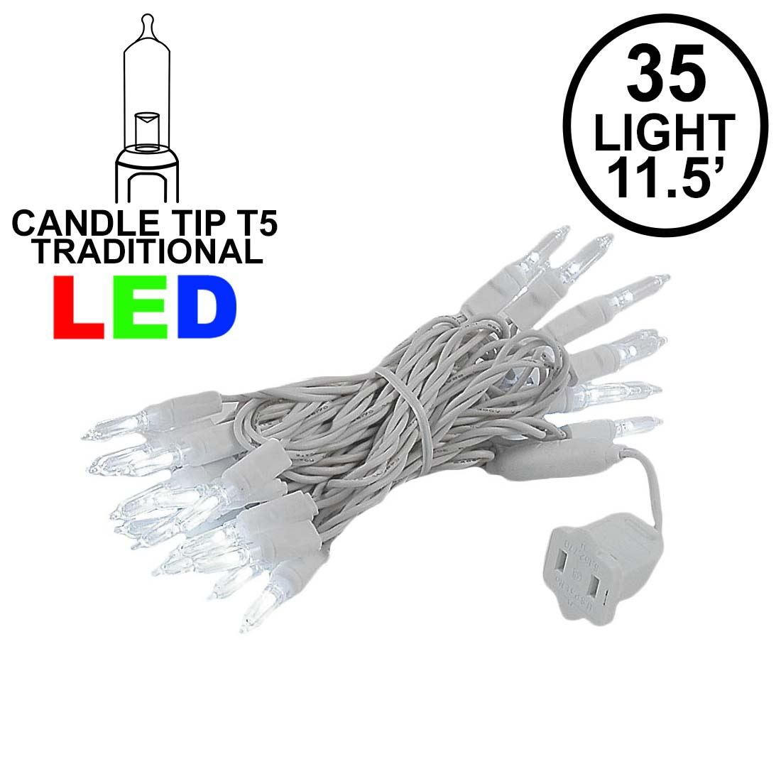 Picture of 35 Light Traditional T5 Pure White LED Mini Lights White Wire