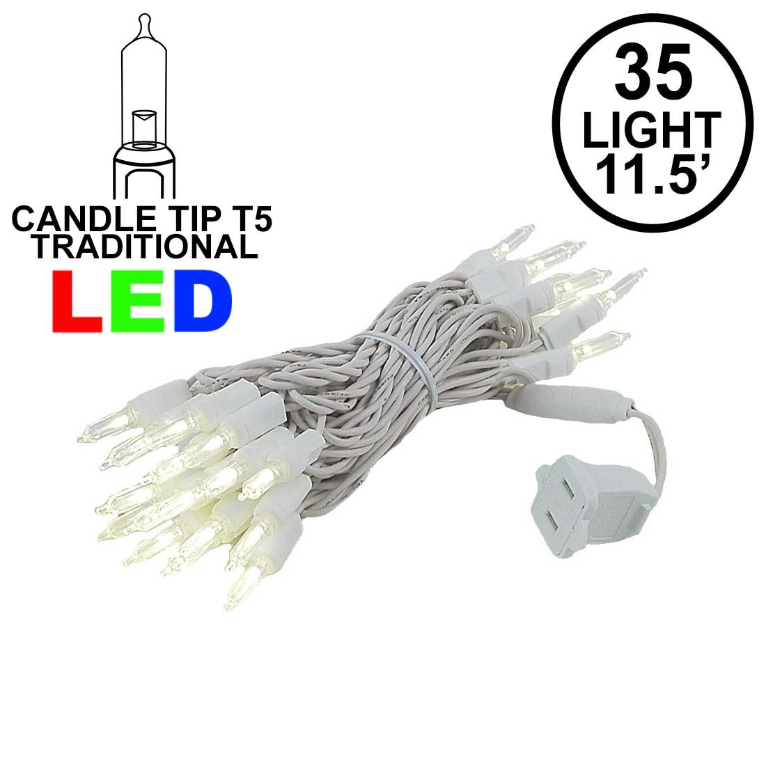 Picture of 35 Light Traditional T5 Warm White LED Mini Lights White Wire