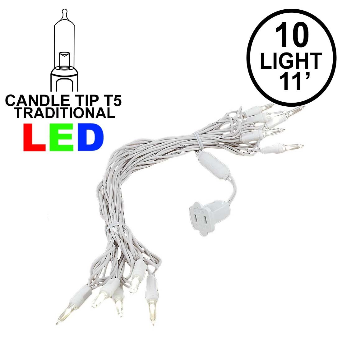 Picture of 10 Light Traditional T5 Warm White LED Mini Lights White Wire