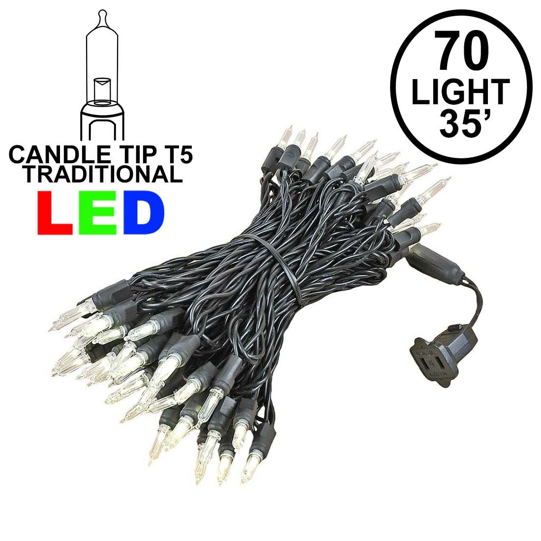 Picture of 70 Light Traditional T5 Warm White LED Mini Lights Black Wire