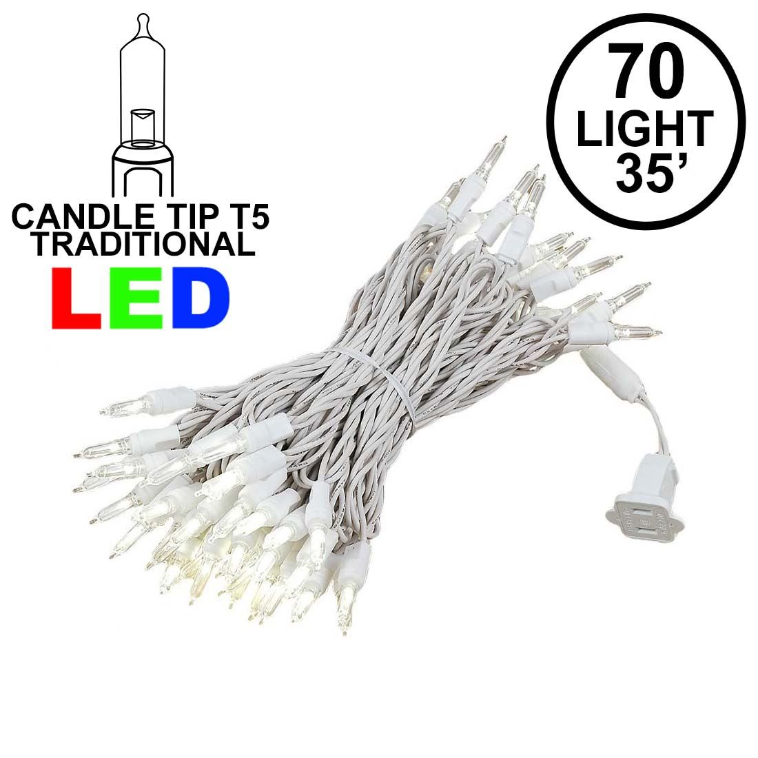 Picture of 70 Light Traditional T5 Warm White LED Mini Lights White Wire