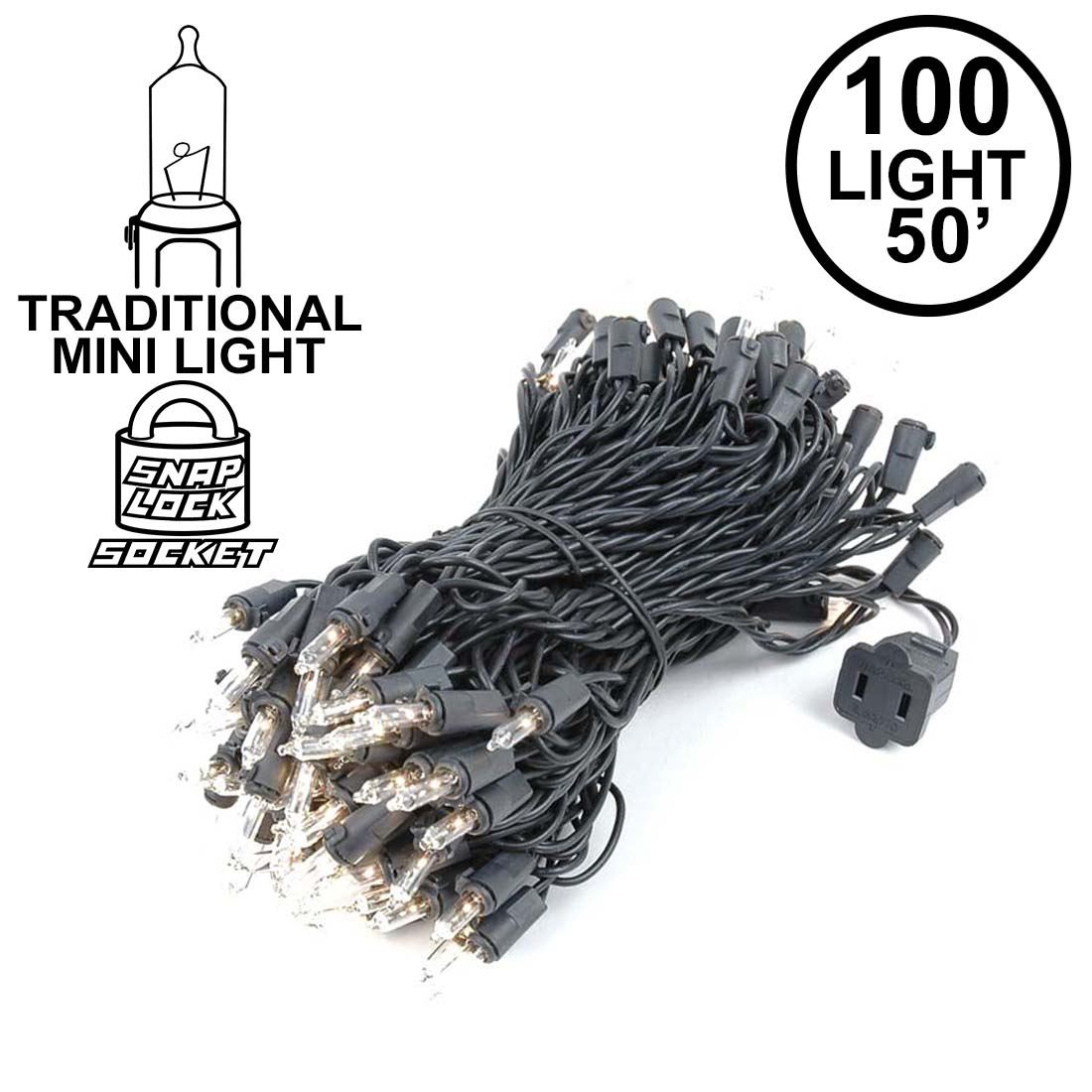 Picture of Clear Christmas Mini Lights 100 Light 50 Feet Long on Black Wire
