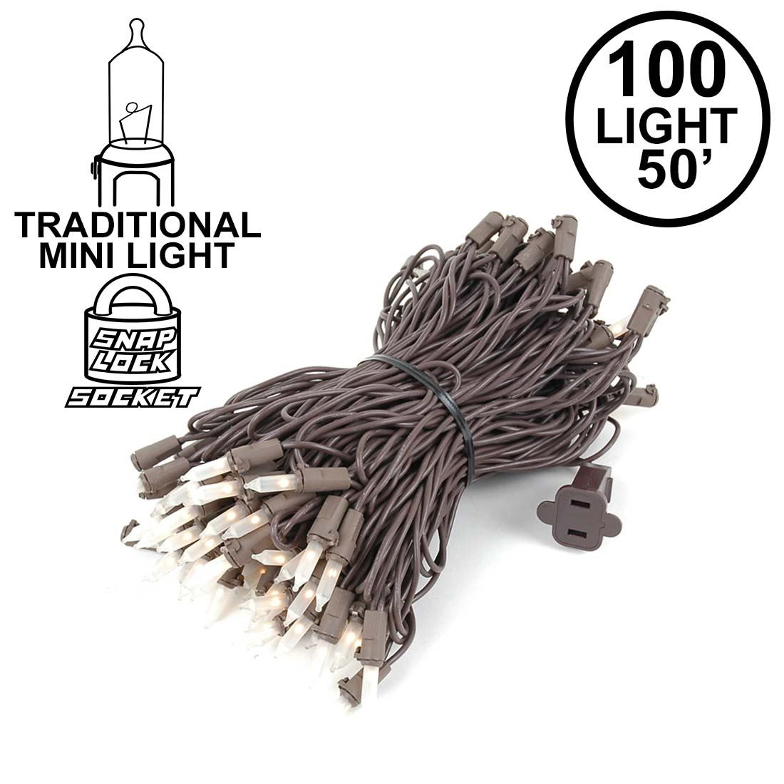 Picture of Frosted Christmas Mini Lights 100 Light 50 Feet Long on Brown Wire